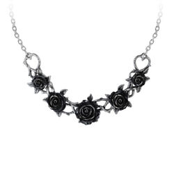 Alchemy Gothic Black Rose Pewter Choker Necklace 17quot;
