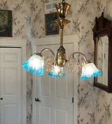 ANTIQUE THREE ARM BRASS HANGING LAMP LIGHT WITH ANTIQUE SHADES $1350.00