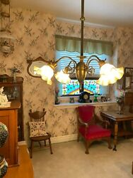 ANTIQUE FOUR ARM BRASS HANGING LAMP LIGHT WITH ANTIQUE SHADES $1350.00
