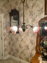 ANTIQUE THREE ARM BRASS HANGING LAMP LIGHT WITH ANTIQUE SHADES $1550.00