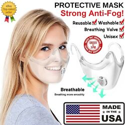 CLEAR Face Mask Shield Plastic Protective Reusable Cover Transparent Anti Fog $10.95