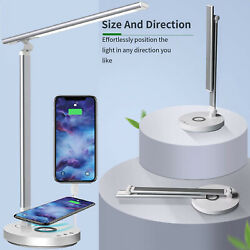 Dimmable LED Desk Lamp Eye caring Table Light with Wireless USB Charging Port $27.99