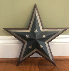 12quot; Primitive Rustic Country Patriotic Americana Flag Barn Metal 3D Star Decor $12.45