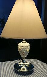 Vintage bedroom lamp with applied flowers 12quot; good condition $18.00