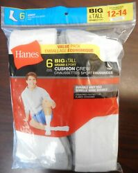 ONE HANES PACK OF 6 PAIR MENS BIGamp;TALL CUSHION CREW SOCKS WHITE GREY SIZE 12 14 $13.99