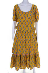 RHODE Womens Floral Print Frida Dress Yellow Size Extra Small 12582089 $84.27