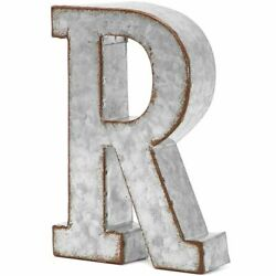 8 In Rustic Letter Wall Decoration R Galvanized Metal Letter for Home Decor $11.99