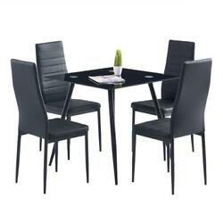 5 Piece Dining Table Sets Glass Metal 4 PU Leather Chairs Kitchen Room Furniture $185.99