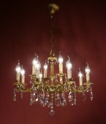 ROCOCO CHANDELIER SHINY CRYSTAL BRASS LAMP 10 LIGHT HOME DECOR LIVING Ø 24quot; $775.00