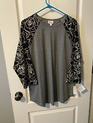 Lularoe Black Roses Floral Sleeve Grey Body Randy Super Rare Unicorn New 2XL $35.00