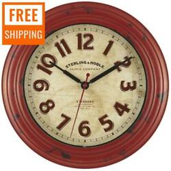 11.5 Inch Rustic Wall Clock Large Round Distressed Vintage Kitchen Farmhouse $25.47