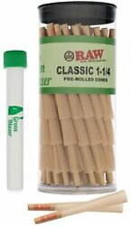 RAW Cones Classic 1 1 4 Size: 100 Pack Pre Rolled Cones with Tips $24.99