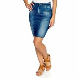 Slim #x27;N Lift Caresse Jean Printed Knee Length Skirt Blue 2X S419329 $9.99