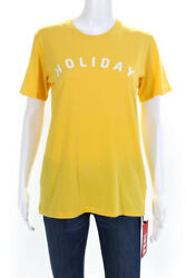 Designer Womens Crew Neck Short Sleeve Holiday Tee Shirt Yellow Size Small