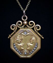 RARE VICTORIAN Antique SEED PEARLS *2 Beautiful WOMEN* in Heart LOCKET Necklace $299.99