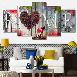 5Pcs Set Love Heart Canvas Wall Painting Picture Home Living Room Bedroom Decor $11.01