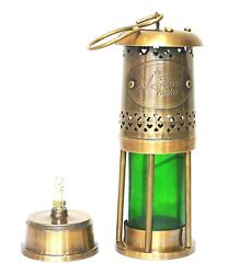 Antique Brass Oil Lantern Green Colour Look With Gifting Item $39.45