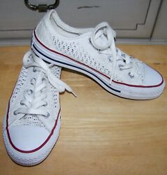 Converse All Star low top white crochet lace sneakers womens 6 spring $32.99