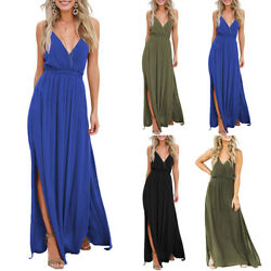 Women#x27;s Sexy Plunge V Neck Long Maxi Dress Bodycon Party Holiday Beach Dress US $9.99