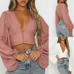 Womens Casual Fashion Spring Tops Sexy Deep V neck Solid Lantern Sleeve Blouse GBP 12.08