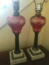 Antique oil converted to electric glass lamps matched pair $110.00