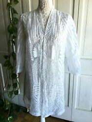 NEW Chico#x27;s White Beach Swimsuit Coverup US Size L Brand Size 2 $24.99
