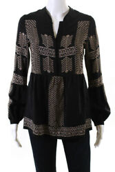 Twelfth Street by Cynthia Vincent Womens Half Button Printed Top Black Petite $32.99