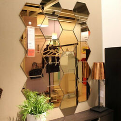 hexagon mirror wall sticker decor removable room decals living room wall sticker $11.94