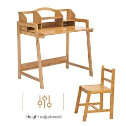 Kids Desk and Chair Set Height Adjustable Children Home Study Table Bookshelves $85.99