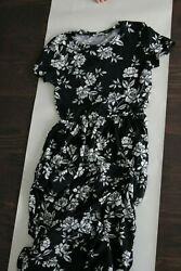 XS black and white floral maxi dress worn once with pockets empire waist $11.00