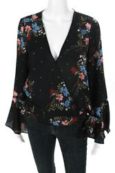 Parker Womens Long Sleeve Floral Wrap Blouse Black Multicolor Size Extra Small $32.99