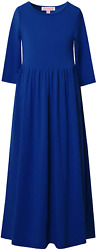 Qpancy Maxi Dresses For Girls 3 4 Sleeve Long Dress Church Party With Pockets $28.99