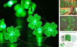 Decorative Lights Shamrocks LED String Lights Battery Operated with Remote 10 f