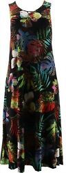 Attitudes Renee Set 2 Printed Solid Maxi Dresses Tropical Black XL NEW A375406 $39.98