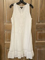 TOMMY BAHAMA White Sleeveless Embroidered Cover Up Shirt Dress crepe cotton XL $29.99