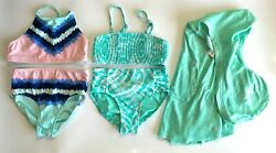 Lot of 3 Justice Swimsuit Bathing Suit Bikinis Mint Hooded Cover Up Size 10 EUC $23.99