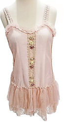 Pretty Angel Camisole Vintage Victorian Boho Lace Blush Pink Ribbon Roses Large $36.99