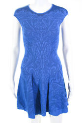 RVN Womens Sleeveless Floral Fit amp; Flare Dress Blue Size Extra Small $34.99