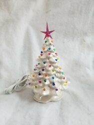 Small Ceramic Christmas Tree Made from a Vintage Mold Pearl white pin lights.USA $45.99