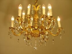 CRYSTAL FRENCH CHANDELIER LAMP HOME DECOR HALL ENTRYWAY 12 L GOLD BRONZE Ø 26quot; $855.00