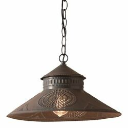 Primitive new Hanging Shade Light in Kettle Black Punched Tin $113.95