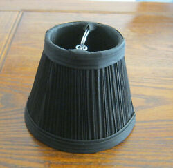 Black 4 in. Clip On Chandelier Lamp Fabric Shade Tapered Drum Pleated 4 x 3 x 5quot; $8.00