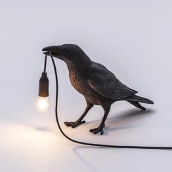 Seletti Bird Table Lamps Resin Crow Desk Lamp Bedroom Sconce Wall Light Fixtures $33.59