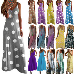 Women#x27;s Strappy Kaftan Maxi Long Dresses Ladies Summer Holiday Beach Sundress $13.86