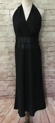 The Limited Womens Black Halter Midi Dress Satin Waist Party Cocktail Size 8 $27.30