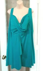 Womens Catherines Teal Green V Swim Suit One Piece Bathing Dress 34 Plus $59.99