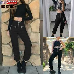 US Women#x27;s Zip Up High Waisted Cargo Pants Ladies Punk Gothic Jogger Trousers $24.09