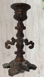 Antique Decorative candle holder décor ornate brass from holy land very old $20.00