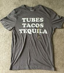 NWT Grey Tubes Tacos amp; Tequila Basic T Shirt Size Small S Slim Fit Fun Novelty $11.99
