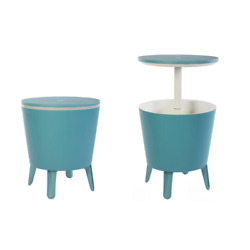 Teal Table amp; Cooler in One Outdoor Accent BBQ Patio Deck Pool Cool Bar Resin $77.78